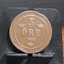 CIRCULATED 1882 5 ORE SEDEN COIN (121017)1.....FREE SHIPPING!!!