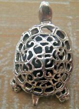 Edwardian Style Solid Silver Pierced Turtle Tortoise Pin Cushion Blue Velvet
