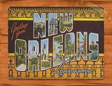 "TIN-UPS TIN Sign ""New Orleans Postcard"" Vintage Shop Travel Vaccation Store"