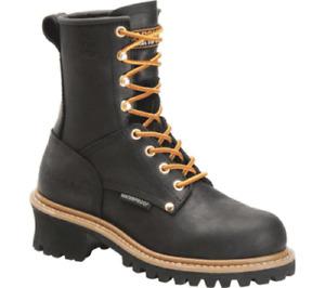 "Women's Carolina CA1420 8"" Logger Waterproof Safety Steel Toe Work Boot Black"