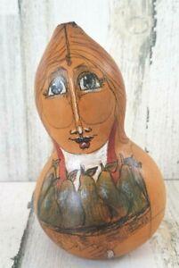 Vintage Hand Painted Gourd Ornament Folk Art Karen Lee Spencer 1999 Woman Pears