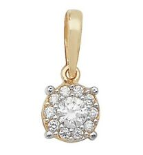 9 Carat Gold Round Cubic Zirconia Pendant 0.68gr 7MM *FREE UK SHIPPING* NEW
