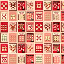 Pam Kitty Sewing Buttons Valentine Squares 20x22 Cotton Fabric Fat Quarter