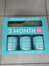 SugarBearHair Vitamins. 3 Months Supply Gift Pack With Bamboo Hair Brush