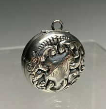 Antique Monogrammed Sterling Silver Chatelaine Pill Box Fob