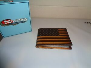 Nocona Bi Fold Top Grain Leather Wallet Usa Flag Print N5416697