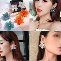 Charm Women Green White Orange Large Flower Stud Earrings Dangle Holiday Jewelry