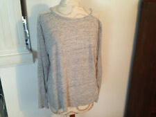 GAP Gray 100% Linen Ivory Lace Womens Long Sleeve Top Size Large