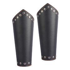 2 Pcs Leather Wristband Costume Bracers Rivet Studs Viking Cosplay Black