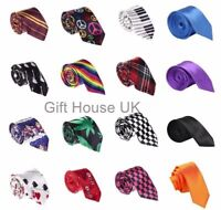 Mens Silk Satin Slim Neck Ties in Solid Striped and Check Smart Partywear
