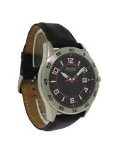 Caravelle By Bulova 43B127 Men's Round Black Analog Date Leather Watch