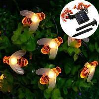 Waterproof Solar Power Bee LED String Light Garden Path Yard Decor Lamp Outdoor
