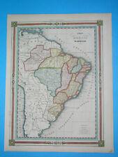 1850 ORIGINAL MAP BRAZIL BRASIL PARAGUAY GUIANA GUYANA URUGUAY ARGENTINA BOLIVIA
