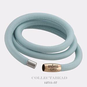 "Authentic Endless Rose Plated Light Blue Triple Leather Bracelet 7.5"" 12711-57"