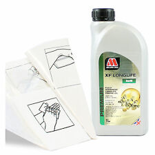 Engine Oil Top Up 1 LITRE Millers Oils XF LONGLIFE 5w-40 1L +Gloves,Wipes,Funnel