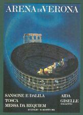 LIRICA. ARENA DI VERONA stagione 1973. Cartolina d'epoca.