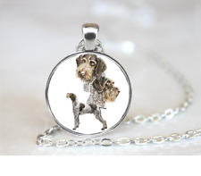German Wirehair Pointer PENDANT NECKLACE Chain Glass Tibet Silver Jewellery