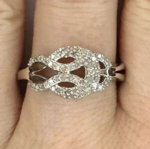 Diamond Ring, Celtic Knot Design, Size R/S, Gems Tv/ Gemporia, With Certs