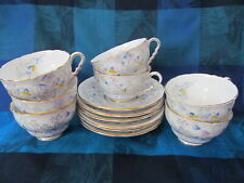 ROYAL STAFFORD, ENGLAND, BLUEBELL TIME PATTERN, 6+ CUPS & SAUCER SETS - VGC
