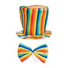 Rainbow Top Hat & Bow Tie Funny Colour Adult Fancy Dress Costume Accessory New