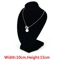 1~4x Black Velvet Necklace Pendant Chain Jewelry Bust Neck Display Holder Stand