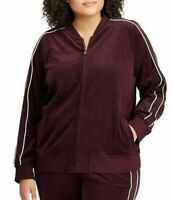 Lauren by Ralph Lauren Bomber Jacket Cotton Velour Wine Red Women's 1X NWT $135