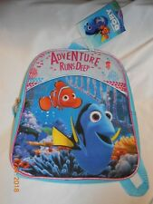 New Dory /& Nemo Just Keep Swimming Backpack Aqua Purple Pink Sparkles 16x12x5