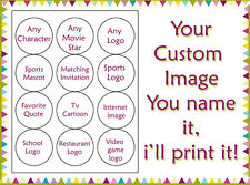 ANY CUSTOM IMAGE Edible image cookie toppers cupcake tops birthday party