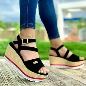 1 Womens Summer Holiday Beach Peep Toe Casual Shoes Wedge Heels Sandals size UK7