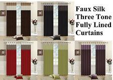 FAUX SILK LINED CURTAINS THREE TONE BEDROOM CURTAIN EYELET / RING TOP + Tiebacks