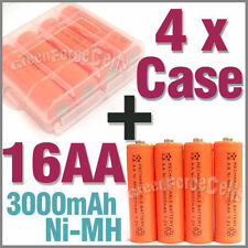 4 Case + 16 AA NiMH 3000mAh rechargeable battery Orange