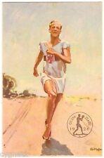 POSTCARD GERMAN 1928 SUMMER OLYMPICS RUNNING SIGNED G. HOFER