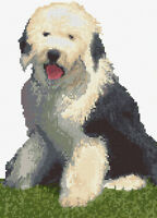 """Old English Sheepdog Puppy Colours - Animal Cross Stitch Kit 8"""" x 11"""" - 14 Count"""