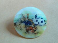 Adorable Bunny Rabbits Button on Mother of Pearl MOP Shank Button