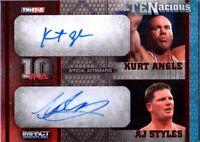 TNA Kurt Angle & AJ Styles 2012 TENacious RED Dual Autograph Card SN 2 of 10