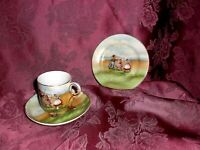 MINIATURE VINTAGE TEA CUP SAUCER DESERT PLATE HAND PAINTED W/GOLD TRIM CHINA