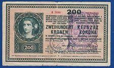 Austria Hungary, 200 Kronen Korona 1918, CITTA DI FIUME Consiglio Nazionale RARE
