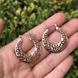 Vintage 18k Gold Plated Filigree Hoop Pierced Earrings