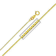 """14K Solid Yellow Gold Light Box Chain Necklace 0.35mm 16"""""""