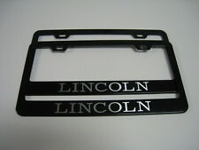 """2 Brand New """"LINCOLN"""" BLACK Metal License Plate Frame Front&Rear"""