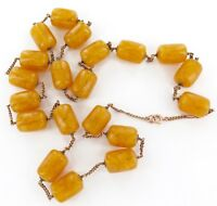 .SUPERB VINTAGE 15CT GOLD & AMBER INFUSED BAKELITE NECKLACE. 84CMS LONG, 98 G
