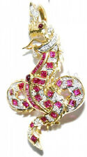 1.05ct ROUND DIAMOND 14k YELLOW GOLD RUBY WEDDING ANNIVERSARY  PENDANT