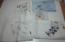 """5 Cotton 'Exclusive of Decoration"""" cocktail size hankerchiefs florial design"""