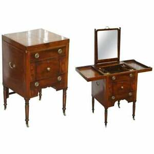 19TH CENTURY MILITARY OFFICERS CAMPAIGN USED WASH STAND WITH FOLD OUT MIRROR