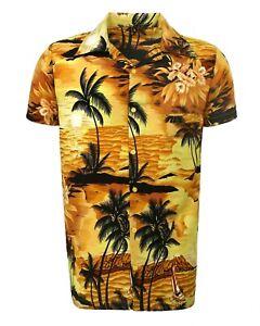 WOMENS LADEIS HAWAIIAN LOUD BEACH ALOHA HEN PARTY FANCY SHIRT YELLOW BEACH PALM