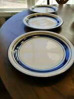 Tienshan Country Crock Stoneware Set of 3 Dinner Plates Blue and Green