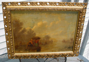 OLD MASTER ANTIQUE DUTCH OIL PAINTING O/C SKATERS.WINDMILL W/ 12) PEOPLE N/R