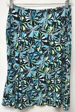 Susan Lawrence Womens Size Large Straight Skirt Floral Black Blue White Yellow
