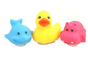 Three Pack of Large Novelty Animal Nail Brushes - Duck, Dolphin & Hippo