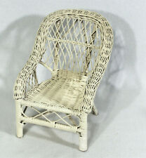 "Vtg Doll Furniture White Painted Wicker Arm Chair for Doll Stuffed Bear 11"" Tall"